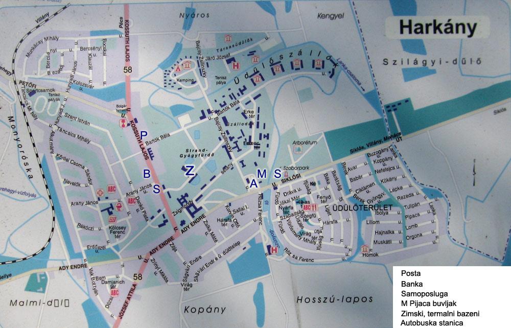 morahalom banja mapa Madjarska banja Harkanj (Harkany) sa velikim termalnim bazenima morahalom banja mapa